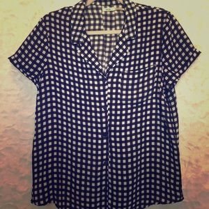 Checked Button Down Blouse Sz Lg
